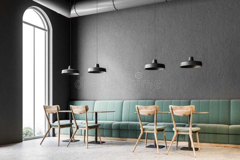 Mörker - grått hörn för väggstång, gröna soffor stock illustrationer