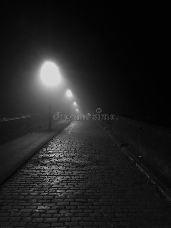 Mörker lappad Lamplit gränd i svartvitt royaltyfri foto