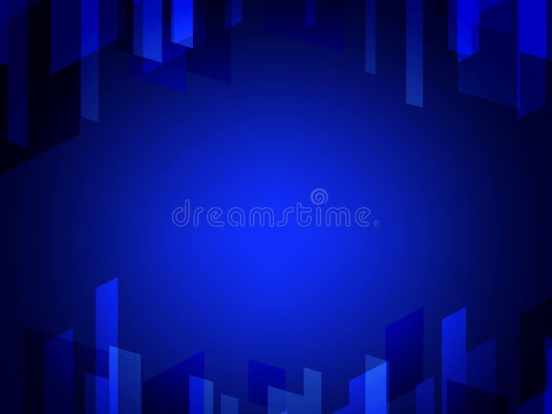 Mörker - polygonal illustration för blå vektor, som består av rektanglar Rektangulär modell för din affärsdesign Geometrisk baksi vektor illustrationer