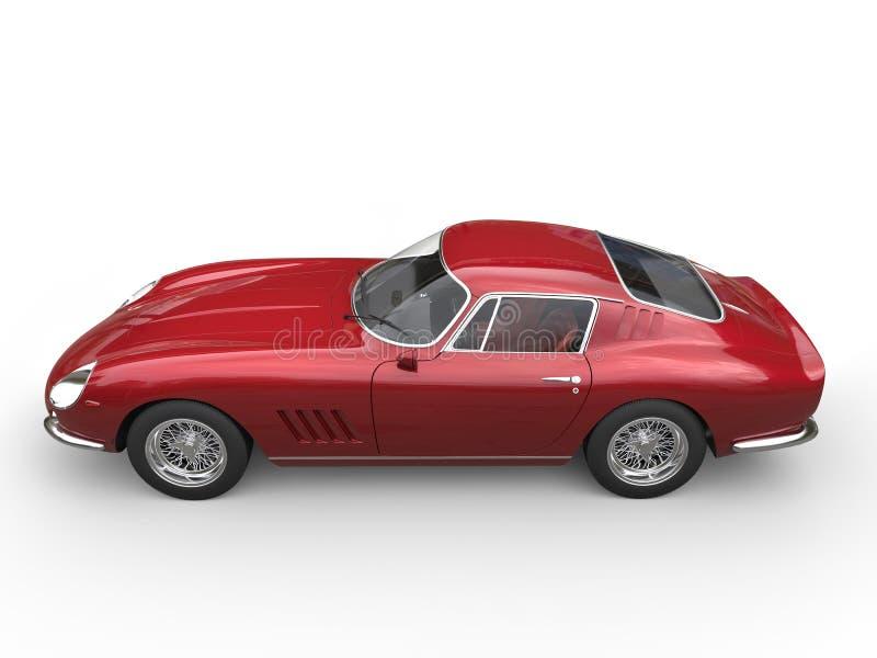 Mörker - röd klassisk sportbil - sikt för bästa sida vektor illustrationer