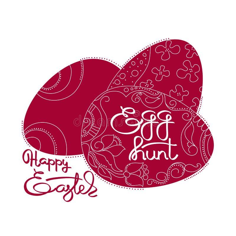 Mörker - röda ägg och för påskägg för handskrivet ord lycklig jakt stock illustrationer