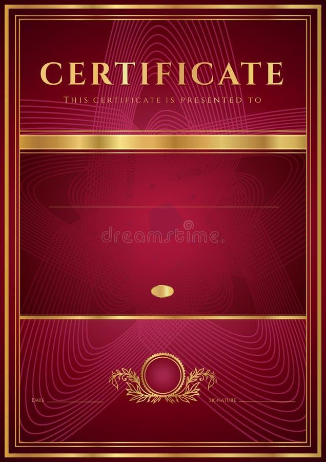 Mörker - rött certifikat, diplommall vektor illustrationer
