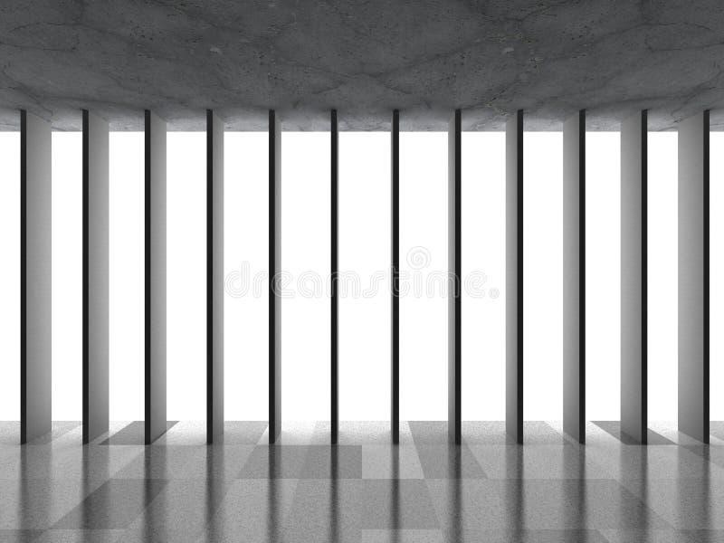 Download Mörkerbetongrum Med Tegelplattagolvet Och Det Stora Fönstret Tänder Stock Illustrationer - Illustration av geometri, futuristic: 78729742
