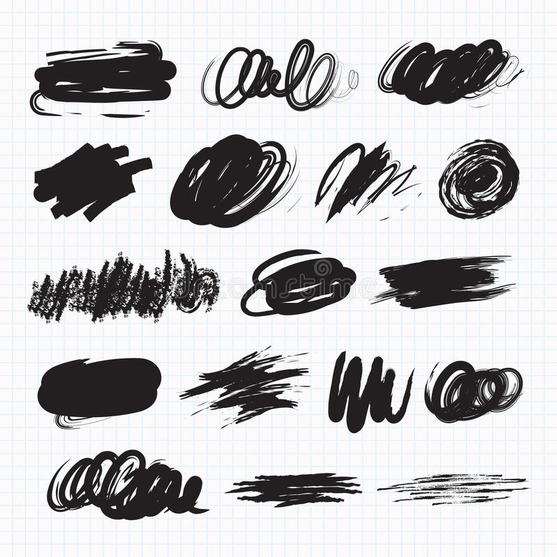 Mörkerfläckar Klottra fläckar stock illustrationer