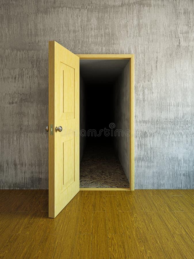 Mörkerkorridor bak en dörr royaltyfri illustrationer