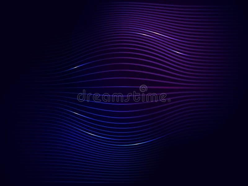 Mörkt - abstrakt digital vågbakgrund för blått violett neon stock illustrationer