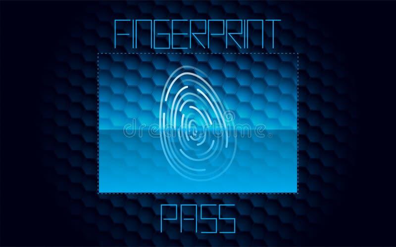 Mörkt avläsande passerande för Digital fingeravtryck - blå bakgrund vektor illustrationer