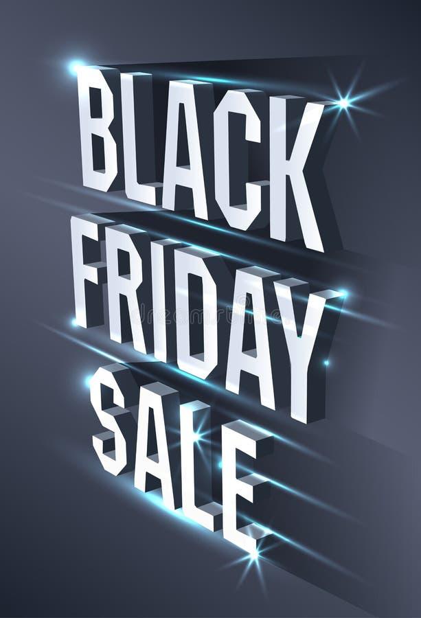 Mörkt baner för den svarta fredag försäljningen Ljus affischtavla för metallisk isometrisk text på svart bakgrund Begrepp av adve stock illustrationer