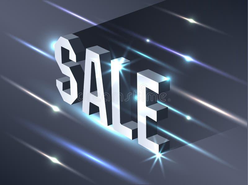Mörkt baner för den svarta fredag försäljningen Ljus affischtavla för metallisk isometrisk text på svart bakgrund Begrepp av adve royaltyfri illustrationer