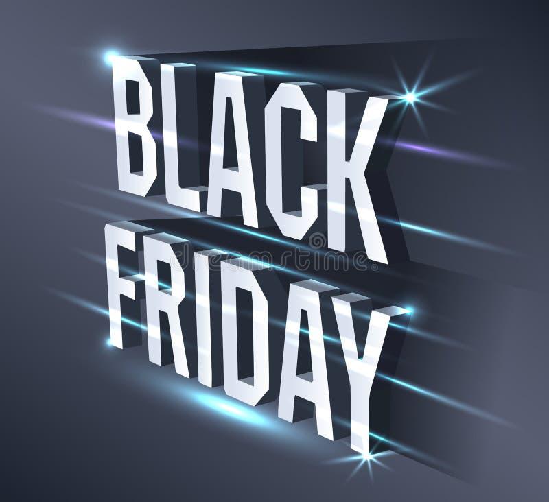 Mörkt baner för den svarta fredag försäljningen Ljus affischtavla för metallisk isometrisk text på svart bakgrund med neonljus royaltyfri illustrationer