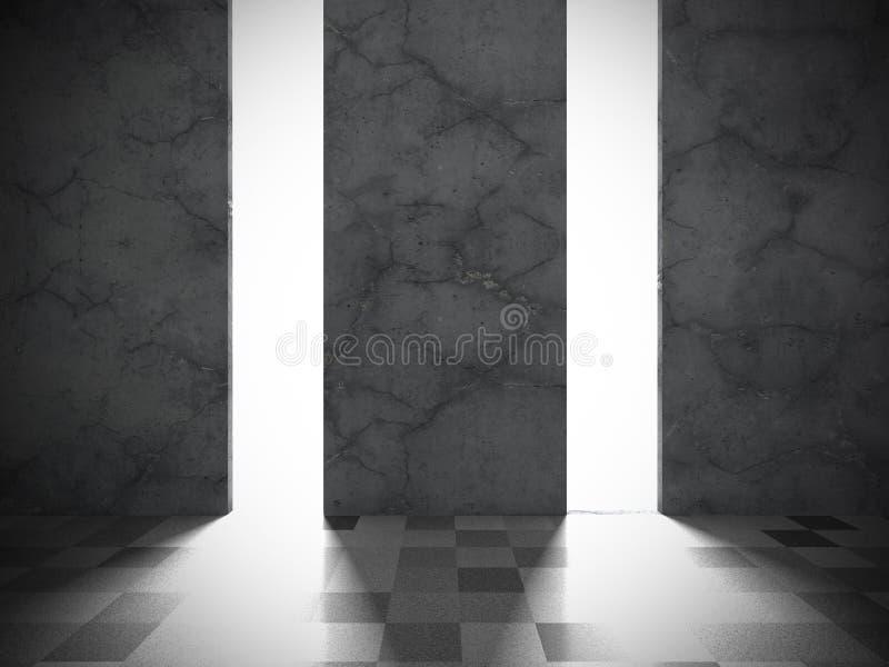 Download Mörkt Betongväggrum Med Tegelplattagolvet Modern Bac För Arkitektur Stock Illustrationer - Illustration av bygger, tunnelbana: 78729455