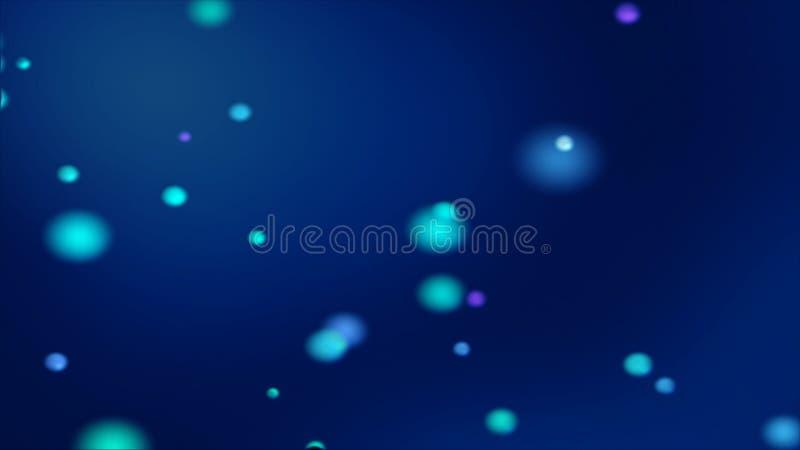 Mörkt - blå bokehbakgrund med suddiga glödande blåaktiga sfärer stock illustrationer