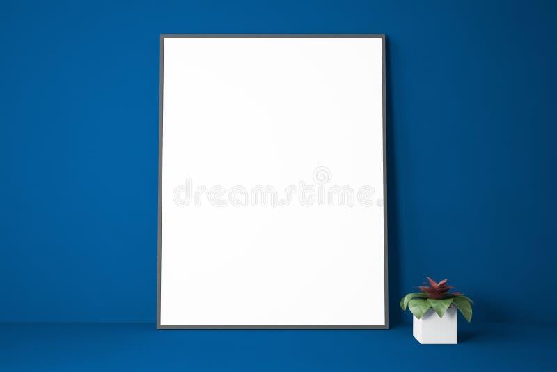 Mörkt - blå bokhylla med affischen och växten royaltyfri illustrationer