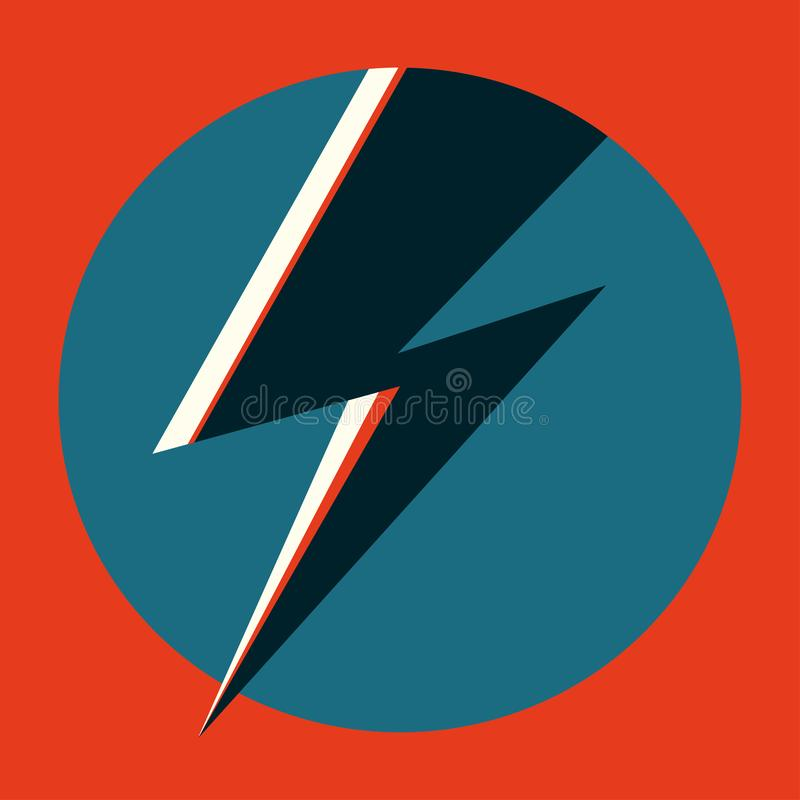 Mörkt - blå exponering Utdragen vektorillustration för hand med blixt i ljust - blå cirkel för logo, affisch, vykort som beklär t vektor illustrationer
