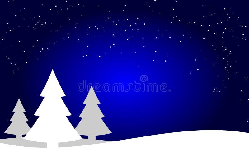 Mörkt - blå och vit julgranlandskapbakgrund, prydlig skogkontur vektor illustrationer