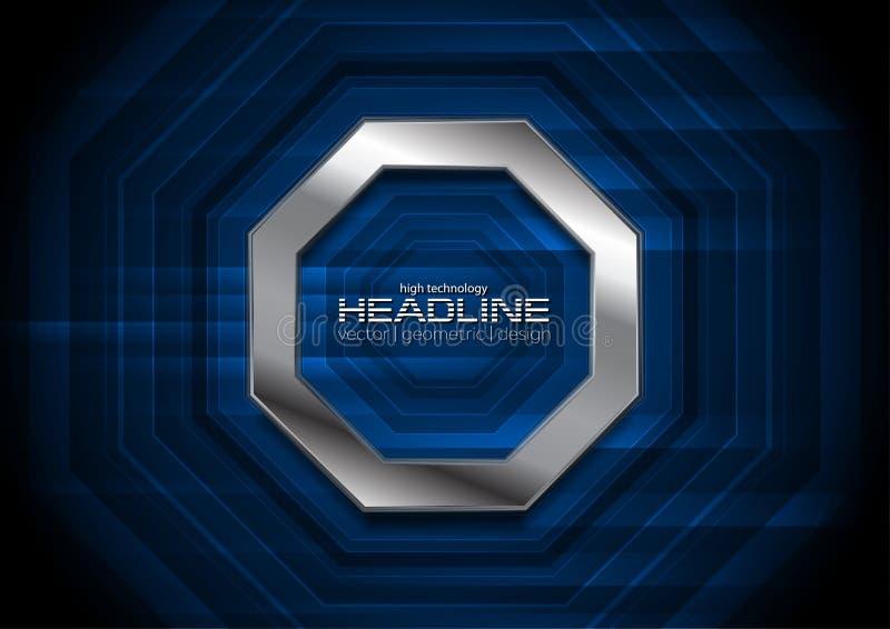 Mörkt - blå teknologibakgrund med den metalliska oktogon stock illustrationer