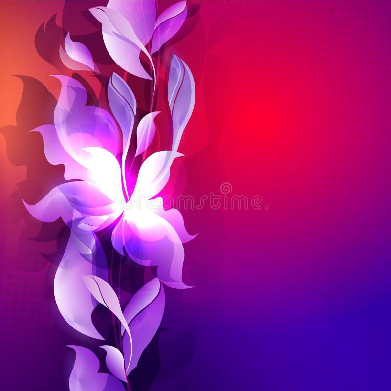 Mörkt - blått med bakgrund för röd färg med abstrakta konturer av sidor och blommor stock illustrationer