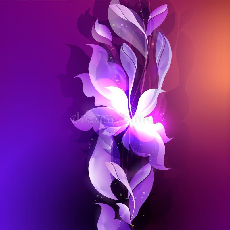 Mörkt - blått med purpurfärgad bakgrund med abstrakta blad- och blommakonturer royaltyfri illustrationer