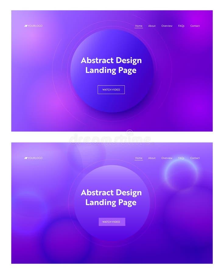 Mörkt - formar den rosa abstrakta geometriska cirkeln för blåa lilor uppsättningen för landningsidabakgrund Modell för Digital rö royaltyfri illustrationer