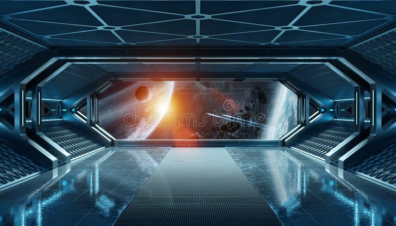 Mörkt - futuristisk inre för blått rymdskepp med fönstersikt på utrymme- och för planeter 3d tolkning royaltyfri illustrationer