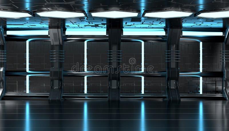 Mörkt - futuristisk inre för blått rymdskepp med tolkningen för techväggpanel 3d stock illustrationer
