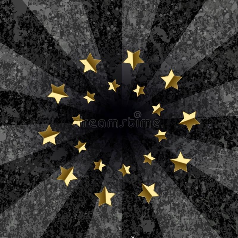 Mörkt - grå grungebakgrund med stjärnor i mitten vektor illustrationer