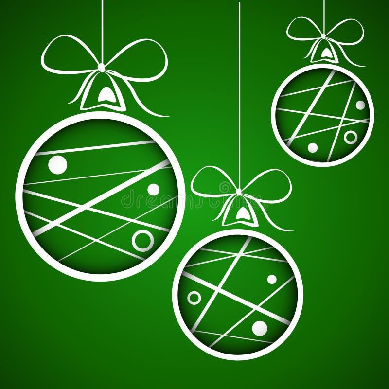 Mörkt - green prack klottrade julbollar vektor illustrationer