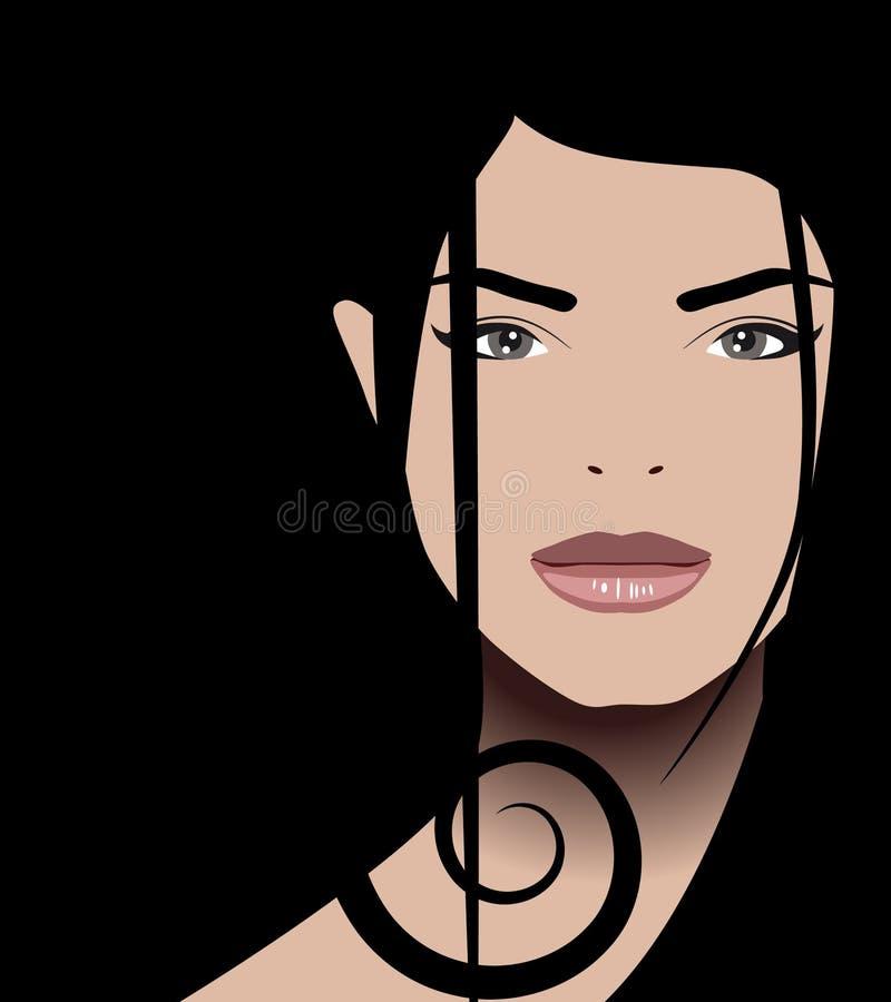 mörkt hår vektor illustrationer