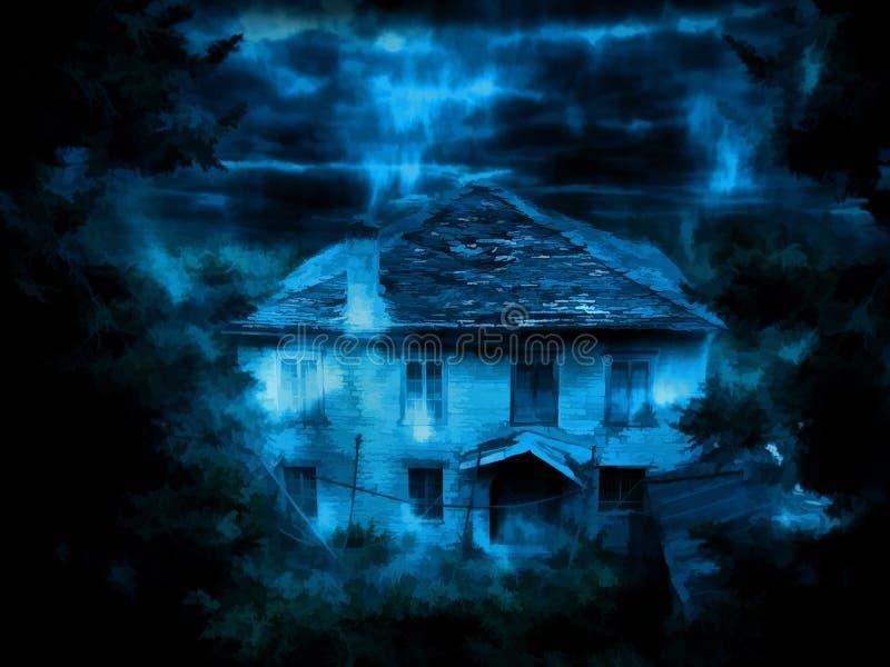 Mörkt hus för spöke Digital illustrationkonst royaltyfri illustrationer