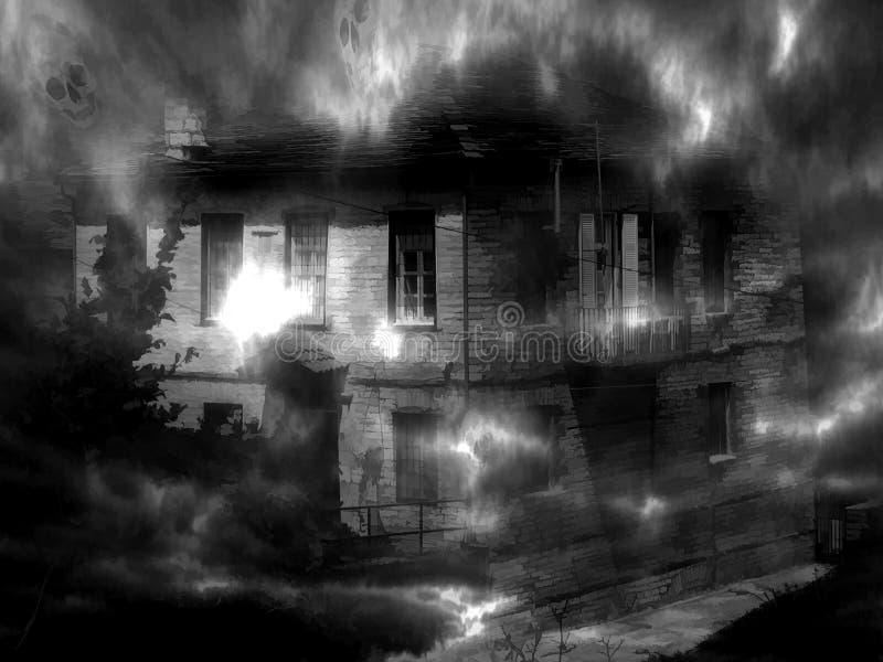 Mörkt hus för spöke Digital illustrationkonst stock illustrationer
