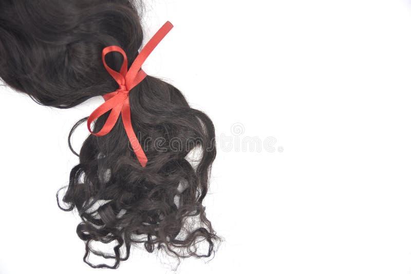 Mörkt lockigt hår med rött snör åt på den vita bakgrunden fotografering för bildbyråer
