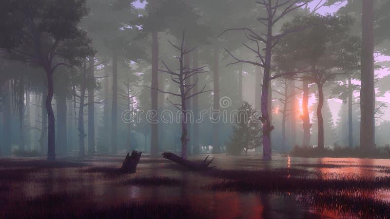 Mörkt mystiskt skogträsk på dimmig gryning eller skymning stock illustrationer