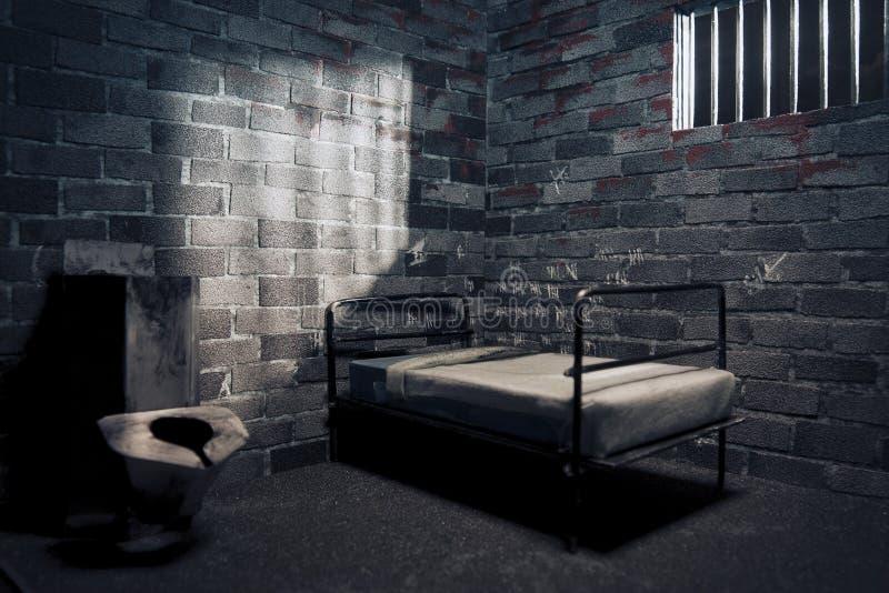 mörkt nattfängelse för cell arkivfoton