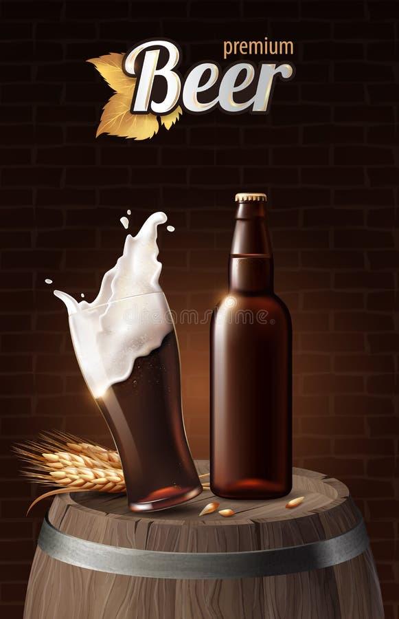 Mörkt portvaktöl i exponeringsglaskopp och glasflaska på trätrumma med vete, förnyande drink med vitt skum i 3d stock illustrationer