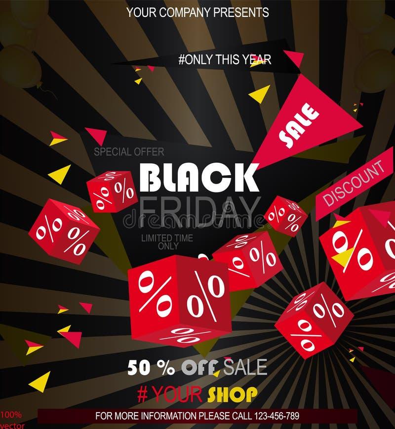 Mörkt rengöringsdukbaner för den svarta fredag försäljningen stock illustrationer