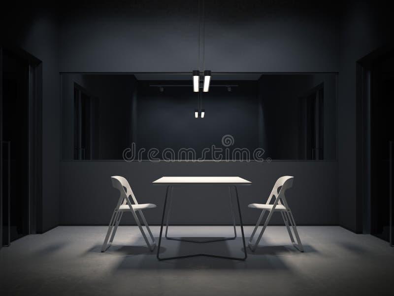 Mörkt rum för utfrågning framförande 3d royaltyfri illustrationer