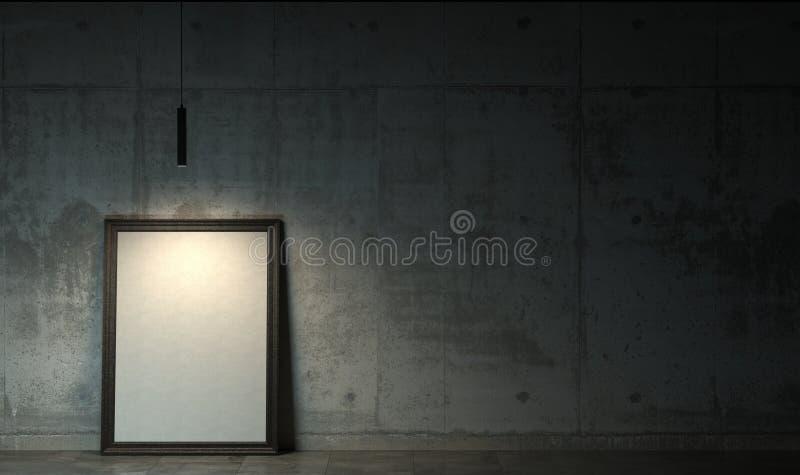 Mörkt rum i skymningen med den tomma tomma vita affischen i svart ramanseende på golvet Dyster inre i vindstil med c stock illustrationer