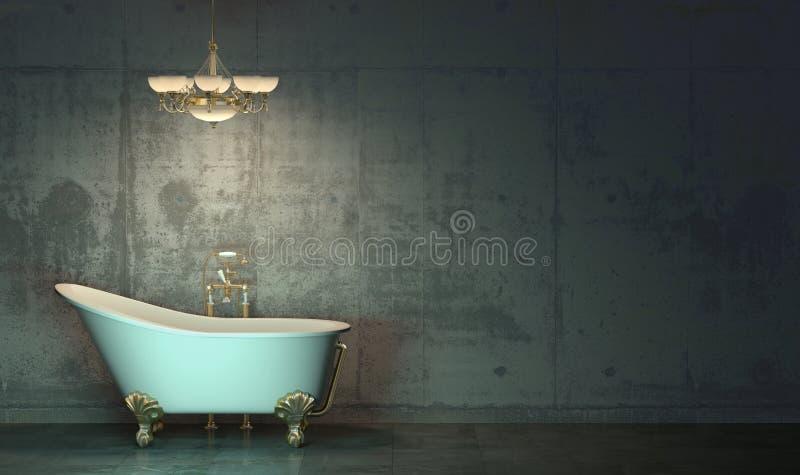 Mörkt rum i skymningen med det klassiska stilbadet och ljuskronan med guldpläterade beståndsdelar som framme står på golvet av stock illustrationer
