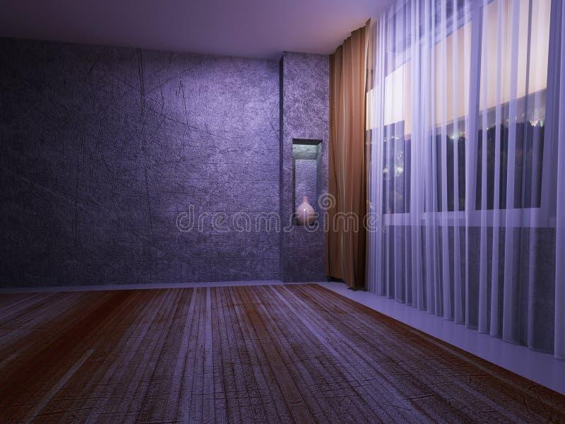 Mörkt rum med ett stort fönster, vektor illustrationer