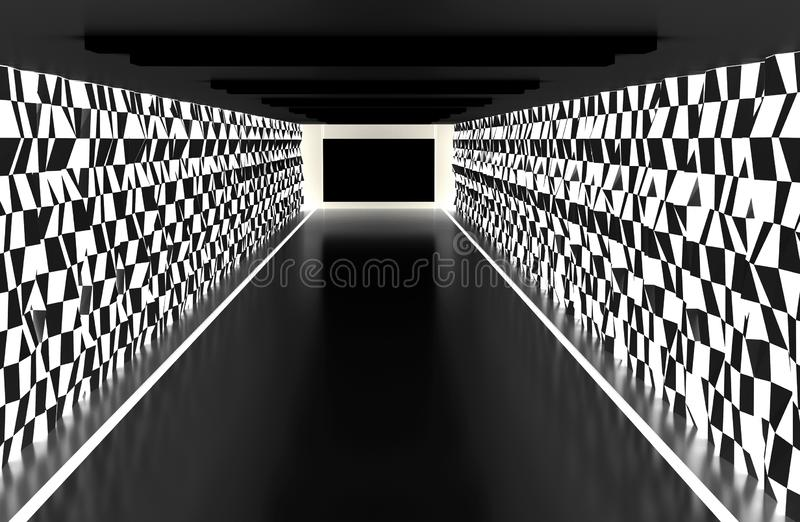 Mörkt rum med väggen för bakgrund för trapetsoidform den abstrakta stock illustrationer