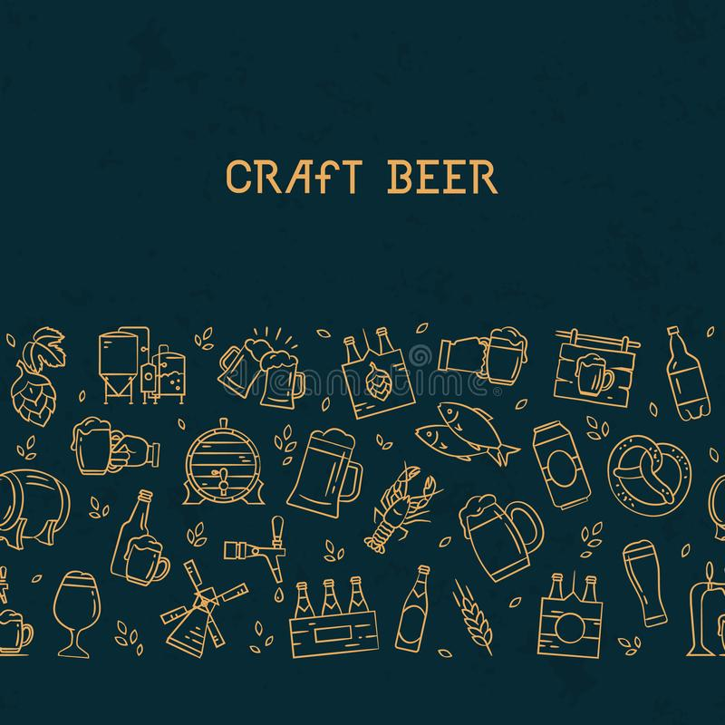 Mörkt sömlöst horisontalmodellöl av hand-drog symboler på temat av öl royaltyfri illustrationer