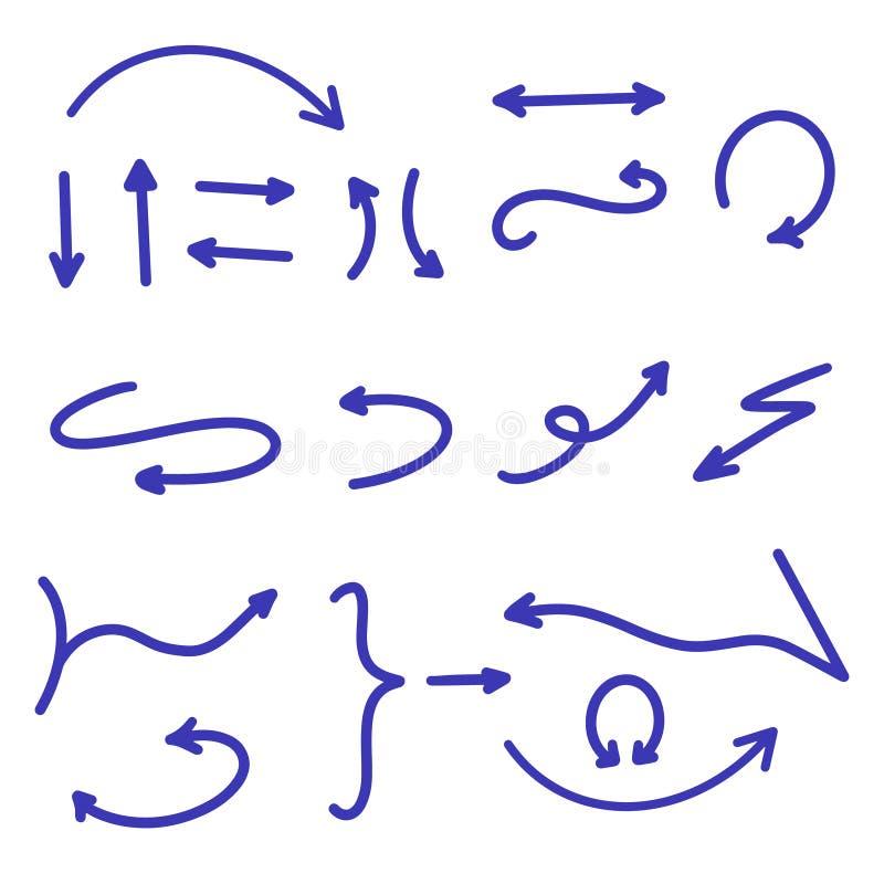 Mörkt - stor samling för blåa pilar Ställ in av den utdragna pilen för handen, pekare, hjälpmedel, riktningar Amerikansk tappning stock illustrationer