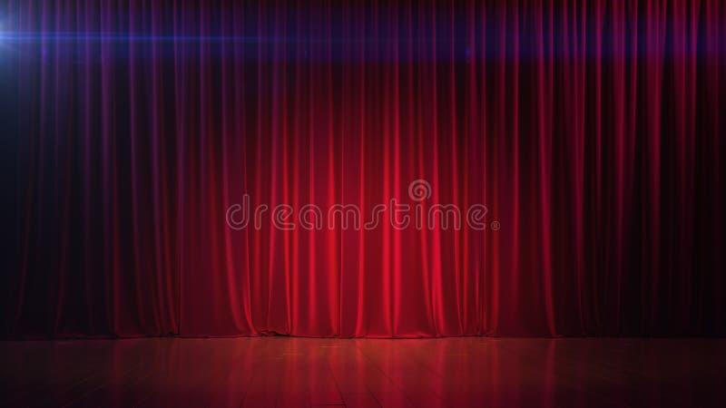 Mörkt töm etappen med den rika röda gardinen 3d framför royaltyfri foto