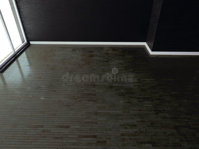 Mörkt tomt rum, loft, 3d vektor illustrationer
