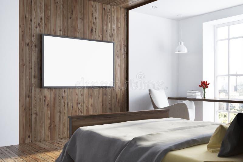 Mörkt trä- och vitt sovrum mappen för 10 cdr inkluderar den nya gammala settv:n stock illustrationer