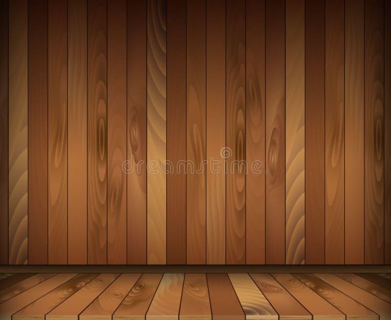 Mörkt träinre rum Däcka och väggen vektor illustrationer
