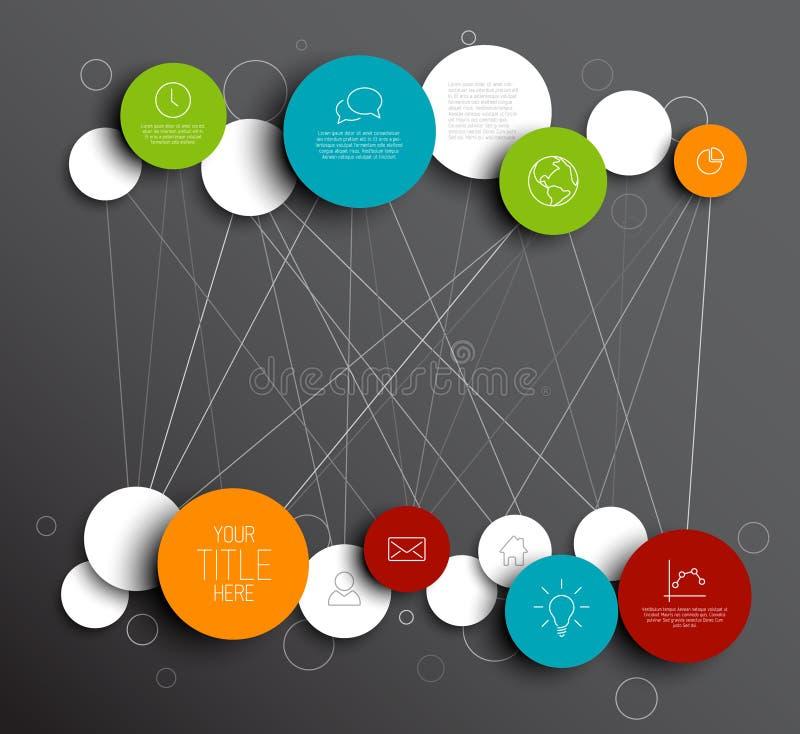 Mörkt vektorabstrakt begrepp cirklar den infographic nätverksmallen royaltyfri illustrationer
