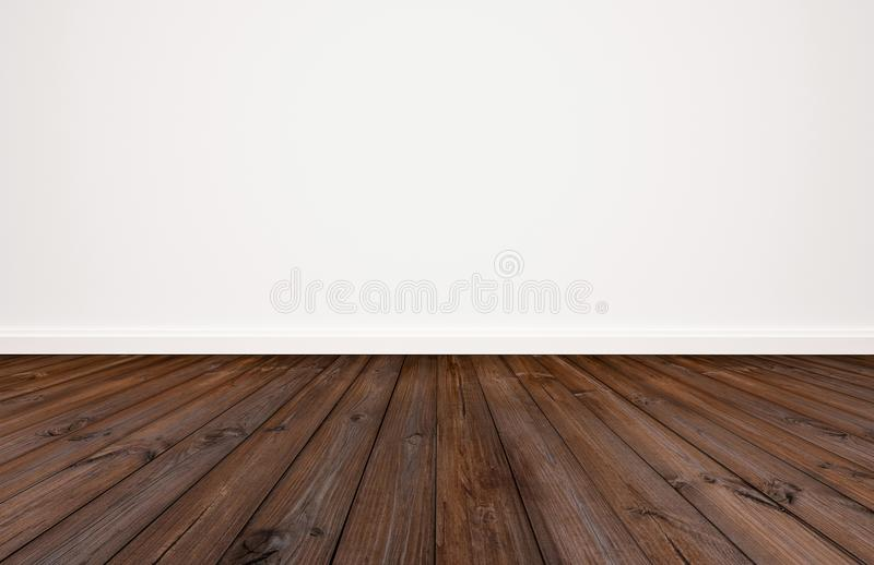 Mörkt wood golv med vit väggbakground arkivbilder