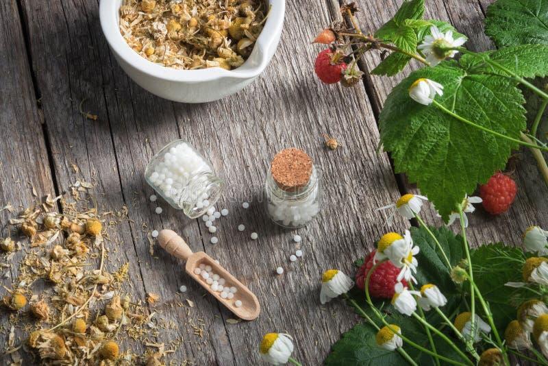 Mörser von getrockneten Gänseblümchenkräutern, von homöopathischen Kügelchen und von Kamillenanlagen Beschneidungspfad eingeschlo stockbild
