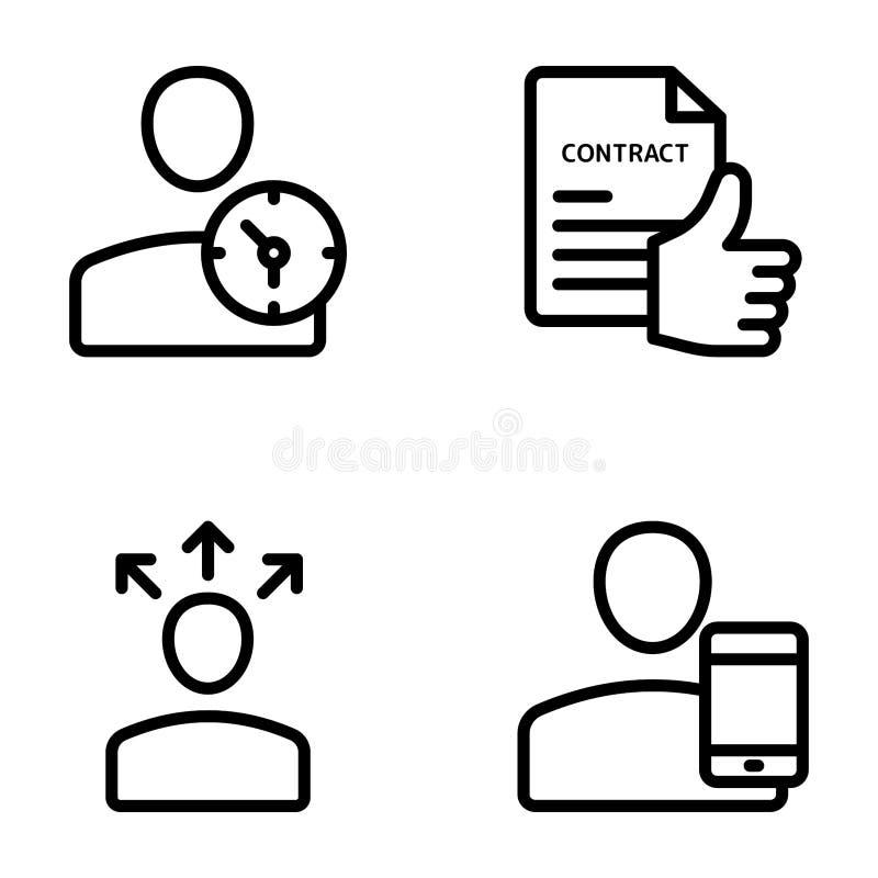 Möte arbetsplats, affärskommunikationslinje vektorer stock illustrationer